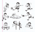 Doodle sport player icons cartoon vector illustration Royalty Free Stock Images