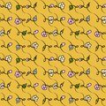Doodle spring flowers on a vibrant yellow background seamless vector pattern