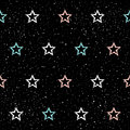 Doodle star seamless background. Abstract childish blue, white a Royalty Free Stock Photo