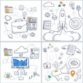 Doodle style concept of career growth, start up, career ladder, corporate opportunities, human resource management. Modern line il