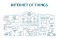 Doodle style design concept of internet of things data technology, network infrastructure of connecting everything.
