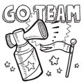 Doodle style go team announcement icon vector format sketch includes text air horn flag Royalty Free Stock Image