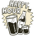 Happy hour alcohol sketch Royalty Free Stock Photo