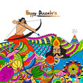 Doodle style illustration for Happy Dussehra.