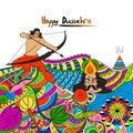 Doodle style illustration for Happy Dussehra.