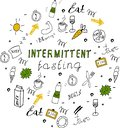 Doodle style intermittent fasting diet lettering