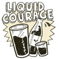 Doodle style liquid courage alcohol drinking sketch vector format includes pint glass text shot glass beer bottle Royalty Free Stock Image