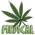 Doodle style medical marijuana leaf sketch vector format includes text pot plant Stock Photo