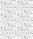 Doodle style seamless pattern with speech bubbles and comic style elements, hand drawn illustration