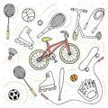stock image of  Doodle style sketch . Sport activity Bike , roller skates , scooter , skateboard , balls , tennis rackets , rope