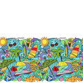 Doodle Summer Beach Seamless Border