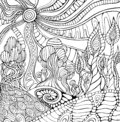 Doodle surreal landscape coloring page for adults. Fantastic psychedelic graphic artwork.