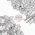 Doodle sushi restaurant menu design template. Engrave asian food frame.