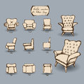 Doodle tag label set armchair for interior design Stock Images