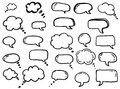 Doodle thinking clouds, chat cartoon bubbles. Hand drawn set. Royalty Free Stock Photo