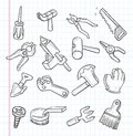 Doodle tools icon cartoon illustration Stock Photos