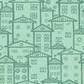 Doodle town houses seamless pattern background vector with hand drawn elements Royalty Free Stock Photo