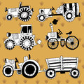Doodle tractors agricultural on a yellow background vector set black and white Royalty Free Stock Images