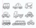 Doodle transport car icons cartoon vector illustration Stock Photography