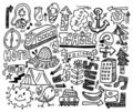 Doodle travel Royalty Free Stock Image