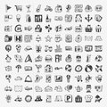 Doodle travel icons set cartoon illustration Royalty Free Stock Photos