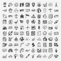 Doodle travel icons set cartoon illustration Stock Image