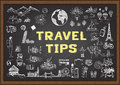 Doodle about Travel tips on chalkboard Royalty Free Stock Photo