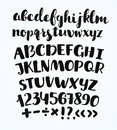 Doodle typographic symbols - hand drawn font over old yellow paper
