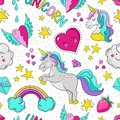 Doodle unicorn pattern. Seamless summer print, cute star heart rainbow typography template. Vector 90s repeat background