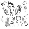 Doodle unicorn rainbow star with black outline Royalty Free Stock Photo