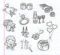 Doodle valentines day icons cartoon vector illustration Royalty Free Stock Photos