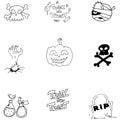 Doodle Vector Art Halloween Ob...