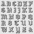 Doodle vector of a complete gothic alphabet illustration in caps written in black Royalty Free Stock Photos