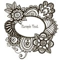 Doodle vector frame with floral design elements eps illustration Stock Photography