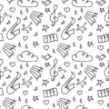 Doodle vector seamless background. Hand drawn Music concert, festival. Black and white