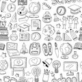 Doodle vector seamless pattern School and education