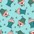 Doodle vector seamless pattern with sweet cupcakes hand drawn Royalty Free Stock Image