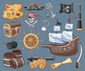 Doodle vector set of pirates Royalty Free Stock Photo