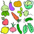 Doodle of vegetable various set collection
