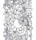 Doodle vertical abstract floral seamless pattern with spring elements in outline style Stock Photography