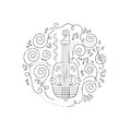 Doodle Violin coloring page.