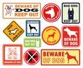 Doodle warning dog sign banner hand icon set Royalty Free Stock Image
