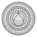 Doodle water drop on tribal mandala circle ornament hand drawn art spring made by trace from sketch black and white ethnic Royalty Free Stock Images
