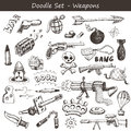 Doodle weapons hand drawn big set Royalty Free Stock Images