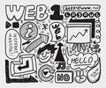Doodle web element icon set Royalty Free Stock Images