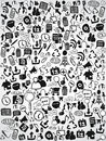 Doodle web icon background the of icons for design Stock Image