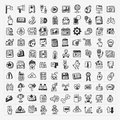 Doodle web icons set cartoon vector illustration Royalty Free Stock Images