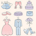 Doodle Wedding Elements Stock Images