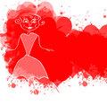 Doodle woman children s hand drawn elegant on red grunge banner Stock Photo