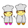 Doodle woman and man - chef Royalty Free Stock Photo
